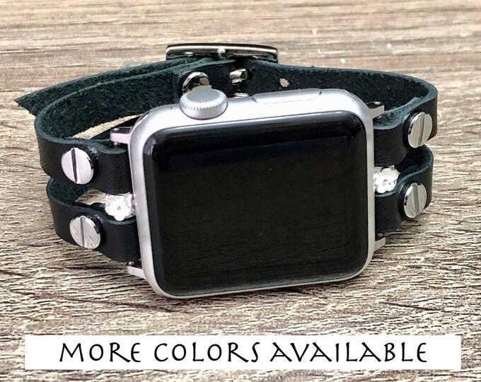 Apple Watch Band 38mm 40mm 42mm 44mm Women Black Genuine Leather Strap Bracelet & Silver Apple Watch Wristband iWatch Band Straps