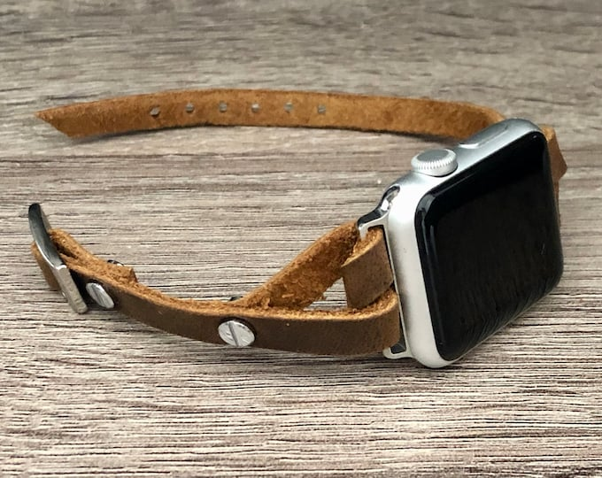 Brown Leather Apple Watch Bracelet Apple Watch Band 38mm 40mm Women iWatch Bracelet Apple Watch 42mm 44mm Band Silver iWatch Band Jewelry