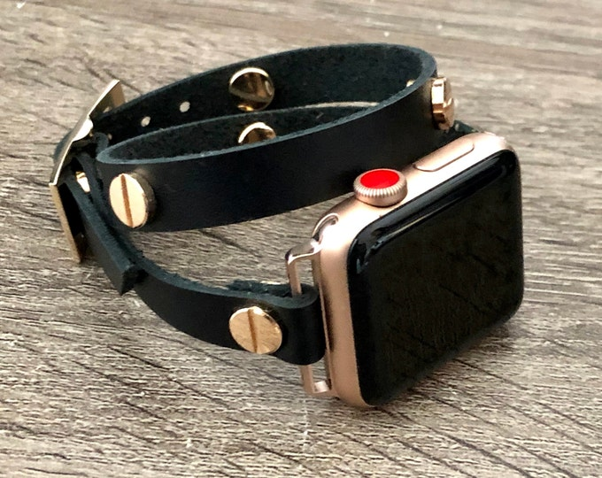 Black Genuine Leather Apple Watch Bracelet 38mm 40mm 42mm 44mm Band Apple Watch Women Strap iWatch Rose Gold Wristband Jewelry