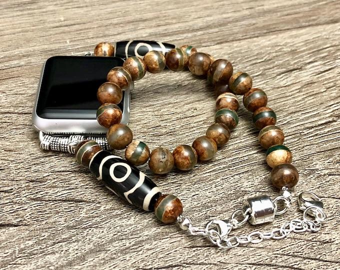 Unique Tibetan Beads Bracelet for Apple Watch All Series Handcrafted Striped Dzi Beads Apple Watch Band Dzi 9 Eyes Agate Jewelry Bracelet
