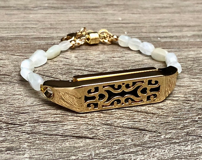 White Moonstone Bracelet for Fitbit Flex 2 Tracker Handmade Gold Color Fitbit Flex 2 Band Moonstone Jewelry Bracelet