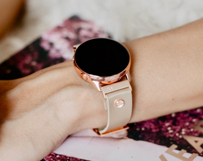 Cream Leather Samsung Galaxy Watch Active2 Band 40mm 44mm Rose Gold Galaxy Watch Active Strap Vegan Leather Rose Gold Galaxy Watch Bracelet