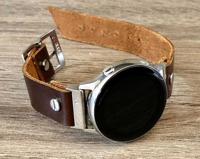 Leather Samsung Galaxy Active Band, Silver Galaxy Watch Active2 Bracelet 40mm 44mm, Silver Watch Band Cuff Wristband
