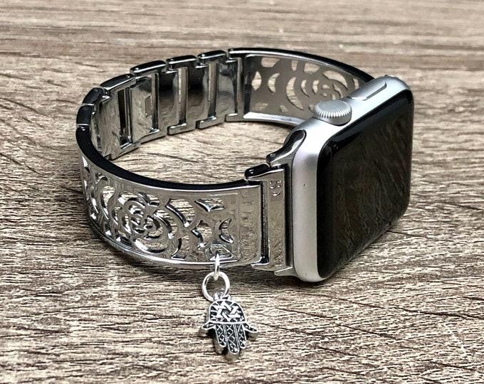Shiny Silver Apple Watch Band Women 38mm 40mm Silver Hamsa Hand Pendant Adjustable Metal Apple Watch Bangle 42mm 44mm iWatch Band Bracelet