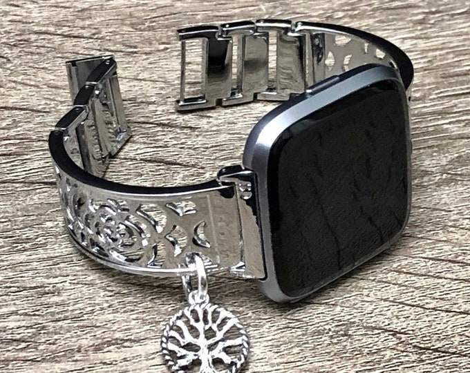 FITBIT VERSA WATCH Band Women Silver Metal Fitbit Versa 2 Bangle Vintage Silver Tree of Life Charm Adjustable Fitbit Versa Lite Jewelry