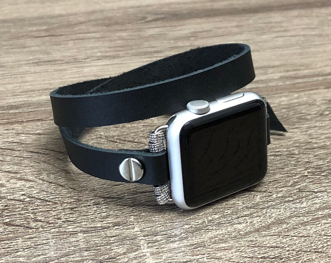 Classic Leather Apple Watch Band Black Genuine Strap 38mm 40mm 42mm 44mm Double Wrap Apple Watch Strap Jewelry iWatch Leather Unisex Band