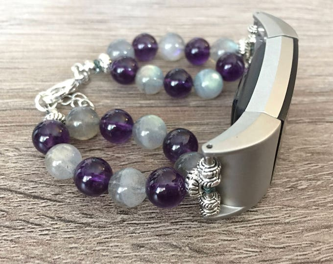 Handmade Moonstone and Amethyst  Bracelet for Fitbit Charge 2 Fitness Tracker Silver Fitbit Charge 2 Band Fashion Jewelry Fitbit Bracelet