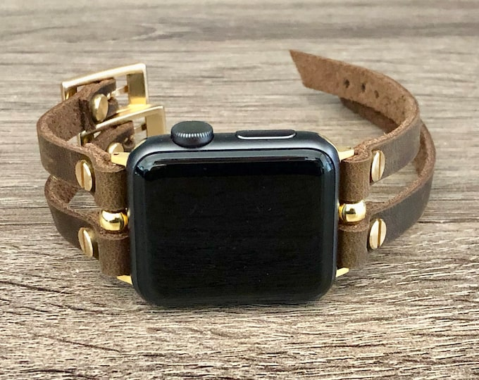 Gold Apple Watch Band 38mm 40mm 42mm 44mm iWatch Rustic Leather Bracelet Apple Watch Strap Double Straps Adjustable Apple Watch Wristband