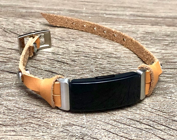 Beige Leather Fitbit Inspire HR Band, Silver Fitbit Inspire Strap Bracelet, Tan Leather Fitbit Inspire Wristband, Women Fitbit Jewelry