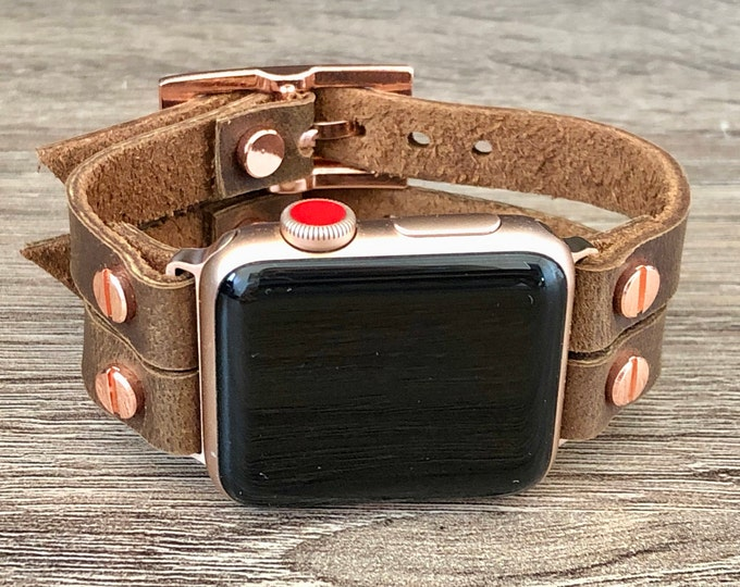 Apple Watch Band 38mm 40mm 42mm 44mm Brown Genuine Leather iWatch Band Apple Watch Bracelet Vintage Leather & Rose Gold iWatch Wristband