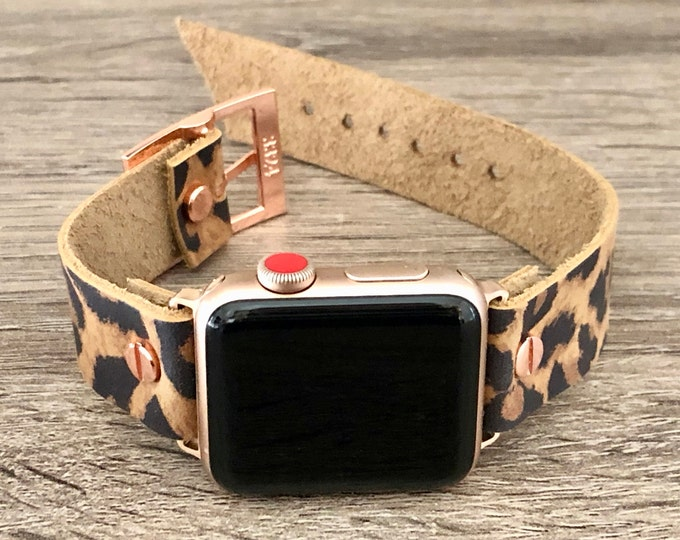 Leopard Print Rose Gold Apple Watch Band 38mm 40mm 42mm 44mm iWatch Bracelet Adjustable Size Wristband Rose Gold Watch Band