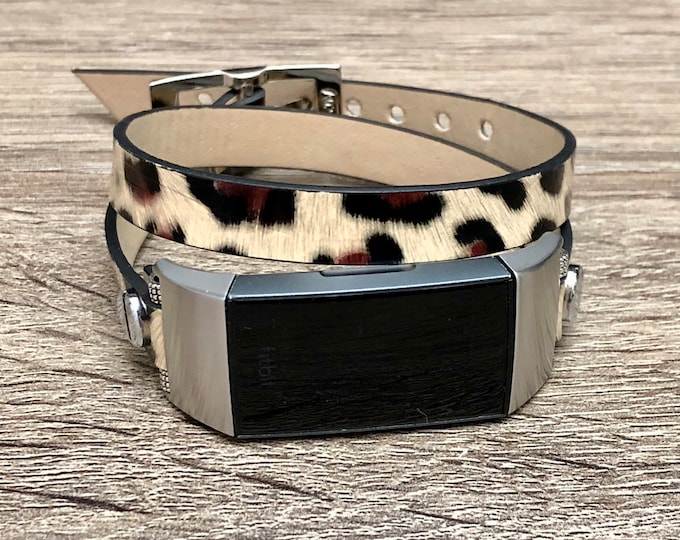 FITBIT CHARGE 3 Band Vegan Leather Fitbit Charge 3 Strap Women Leopard Print Bracelet Double Wrap Fitbit Wristband Silver Fitbit Charge 3