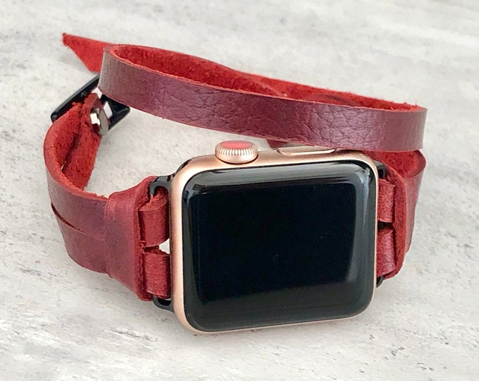 Women Apple Watch Band Red Leather & Black Apple Watch Bracelet 38mm 40mm 42mm 44mm Strap Women iWatch BandDouble Wrap Apple Watch Wristband