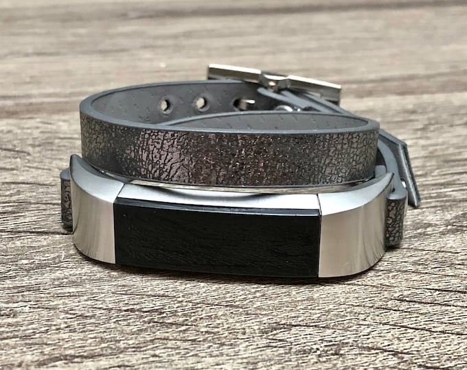 Fitbit Alta HR Band Double Tour Metalic Space Vegan Leather Fitbit Alta HR Bracelet Stainless Steel Fitbit Alta HR Band Adjustable Wrap Band
