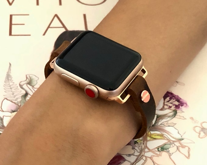 Apple Watch  38mm 40mm 42mm 44mm Rose Gold & Vintage Leather Strap Bracelet Women Style iWatch Band Apple Watch Jewelry Distressed Bracelet