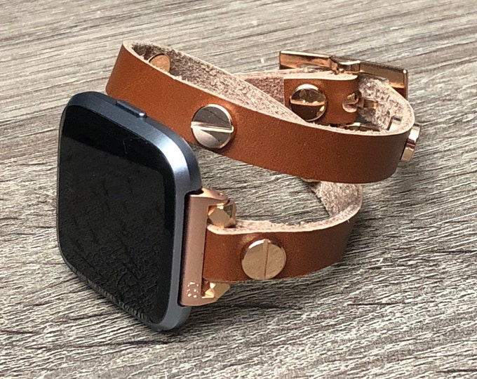 Dressy Rose Gold Fitbit Versa Band Bronze Leather Fitbit Versa Watch Strap Double Wrap Rose Gold Fitbit Versa Bracelet Jewelry