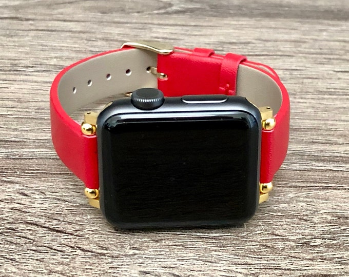Adjustable Red Vegan Apple Watch Leather Band 38mm 40mm 42mm 44mm Slim Apple Watch Bracelet Soft Eco Friendly Leather Wristband iWatch Strap