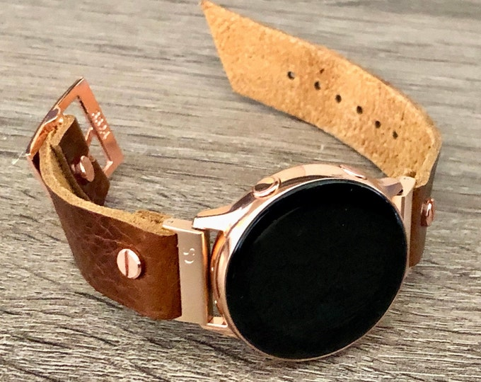 Samsung Galaxy Watch Active2 Band 40mm 44mm Samsung Galaxy Watch 42mm Brown Leather Strap Bracelet 20mm Pink Gold Active 2 Watch Band