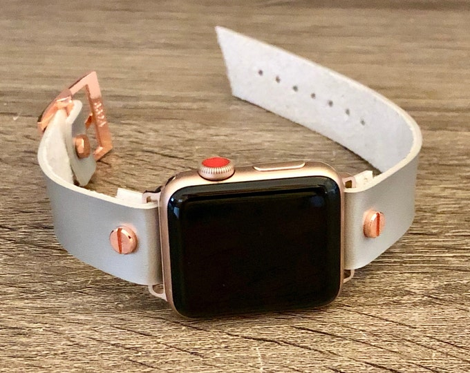 Rose Gold & Silver Vegan Leather Apple Watch Band 38mm 40mm 42mm 44mm iWatch Eco-Friendly Bracelet Adjustable Size Wristband Gray Watch Band