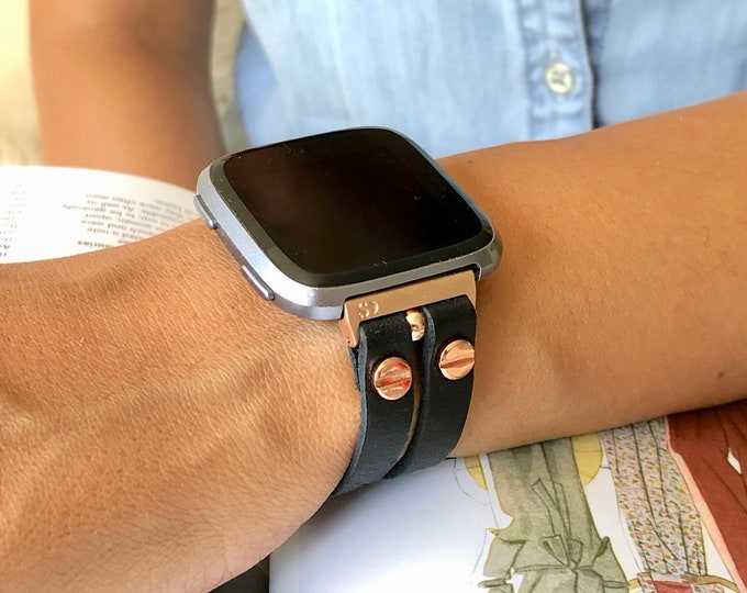 Black Leather Fitbit Versa 2 Band Rose Gold Fitbit Versa Watch Strap Double Straps Women Fitbit Versa Bracelet Fitbit Versa Lite Wristband