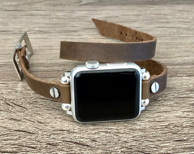Apple Watch Strap 38mm 40mm 42mm 44mm Women Apple Watch Band Silver Apple Watch Wristband Rustic Brown Leather iWatch Bracelet Double Wrap