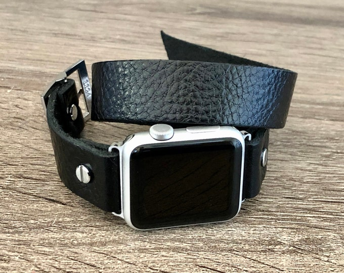 Black Apple Watch Band 38mm 40mm 42mm 44mm iWatch Bracelet Double Wrapped Grain Leather Wristband Adjustable Apple Watch Strap Father's Day