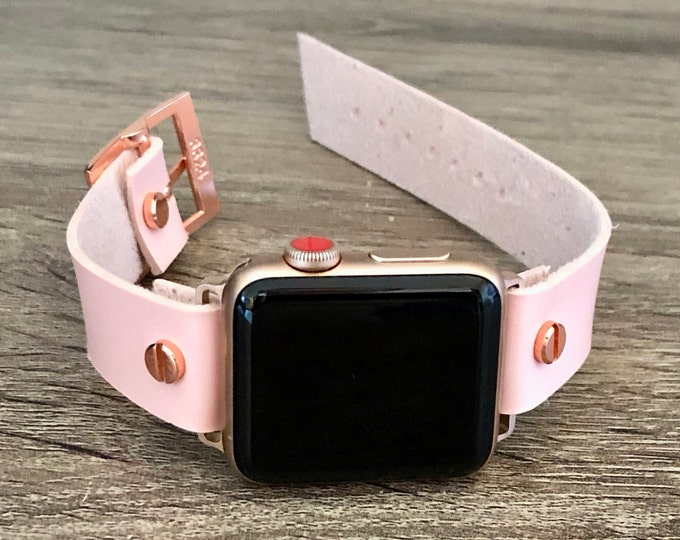 Pink Vegan Leather Apple Watch Band 38mm 40mm 42mm 44mm iWatch Eco-Friendly Bracelet Adjustable Size Wristband Rose Gold Watch Band