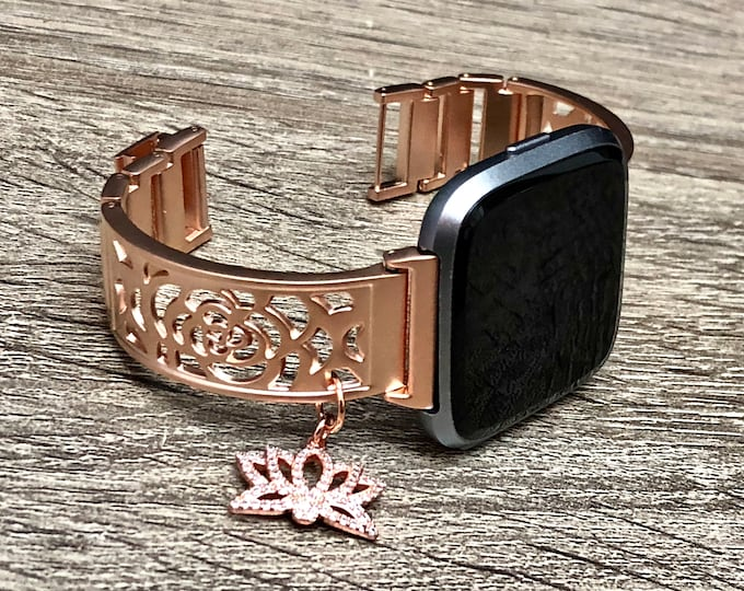 Rose Gold Fitbit Versa Band Woman Handmade Fitbit Versa Band CZ Lotus Medallion Bracelet Adjustable Fitbit Versa Bangle Links Fitbit Jewelry