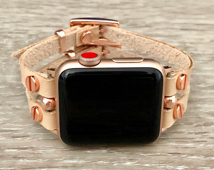 Vegan Leather & Rose Gold Apple Watch Bracelet Cream Color Apple Watch Band 38mm 40mm 42mm 44mm Women iWatch Cuff Band Jewelry Wristband