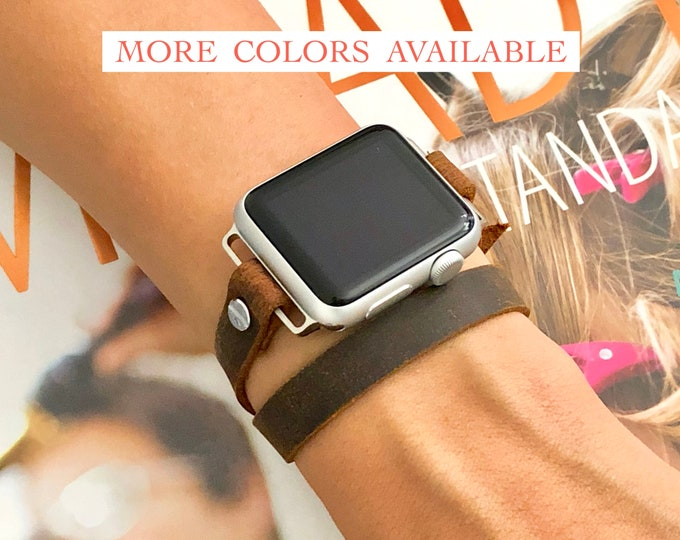 Apple Watch Strap Band 38mm 40mm 42mm 44mm, Women Apple Watch Band, Silver Apple Watch Wristband, Rustic Distressed Leather iWatch Bracelet