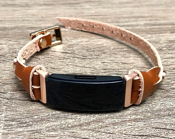 Rose Gold & Light Brown Fitbit Inspire HR Band Slim Fitbit Inspire HR Strap Bracelet, Women Adjustable Size Fitbit Inspire Jewelry Wristband