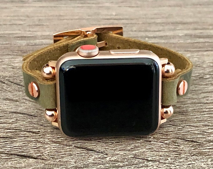 Rose Gold & Brown Leather Apple Watch 38mm 40mm 42mm 44mm Bracelet 10mm Rustic Vintage Leather Strap iWatch Band Apple Watch Brown Wristband