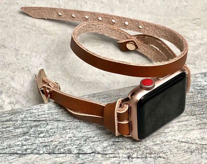Rose Gold & Brown Leather Apple Watch Band,  38mm 40mm 42mm 44mm, Apple Watch Strap, iWatch Band, Leather Apple Watch Bracelet, Wristband