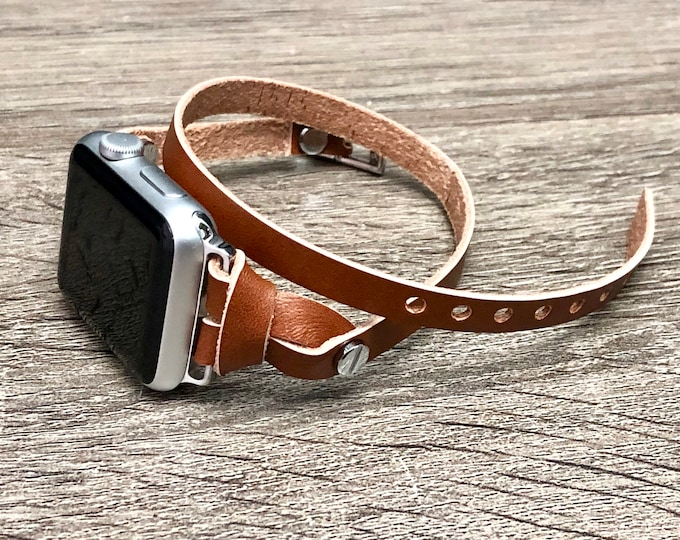 Light Brown Apple Watch 38mm 40mm 42mm 44mm Leather Bracelet Women iWatch Strap Band Silver Apple Watch Watchband Leather Jewelry