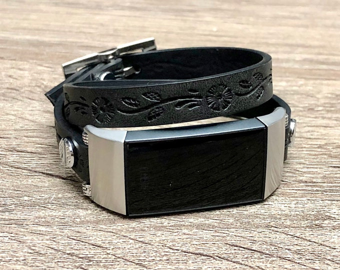 Black FITBIT CHARGE 3 BAND Double Wrapped Fitbit Charge 3 Strap Flower Embossed Fitbit Charge 3 Vegan Leather Band Recycled Fitbit Wrap Band