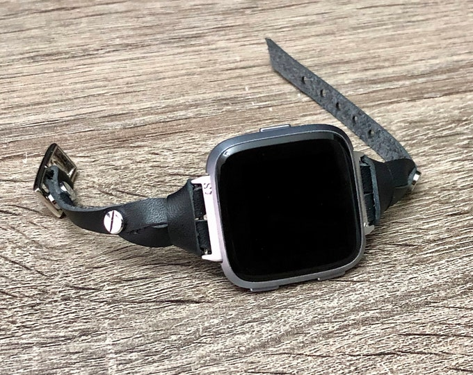 FITBIT VERSA Band Classic Black Leather Adjustable Fitbit Versa Strap Bracelet Silver & Indigo Black Fitbit Versa Watch Bracelet Jewelry