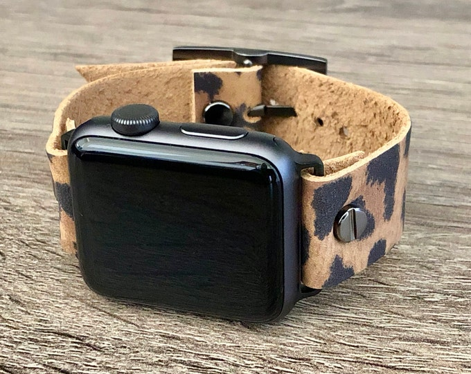 Apple Watch Band 38mm 40mm 42mm 44mm Leopard Print Leather iWatch Bracelet Strap Space Gray iWatch Wristband Leopard Print Pattern Bracelet