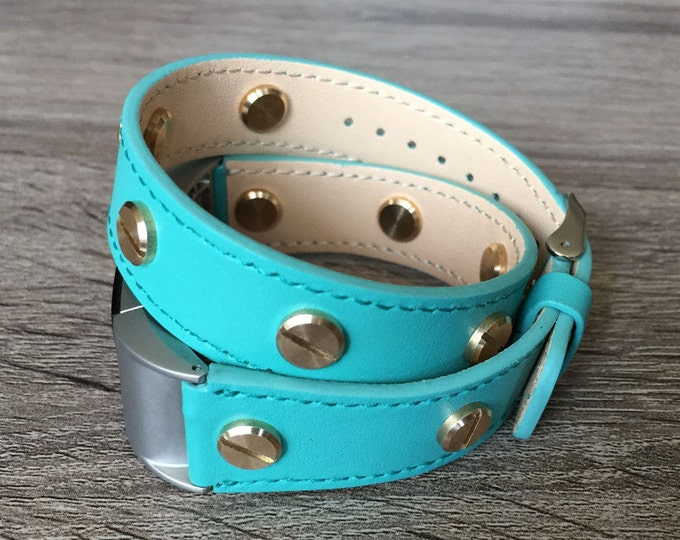 Turquoise Eco Friendly Leather Bracelet For Fitbit Charge 2 Gold Rivets Replacement Fitbit Band Fitbit Charge 2 Accessories Mom Dad Gift