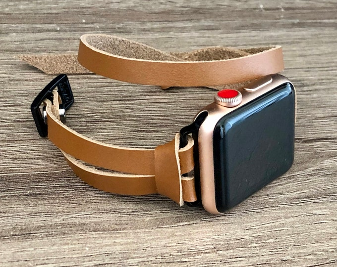 Space Gray & Bronze Leather Apple Watch Band 38mm 40mm 42mm 44mm Women Apple Watch Strap iWatch Band Brown Leather Apple Watch Wristband