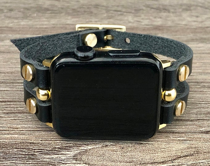 Gold & Black Leather Apple Watch Band 38mm 40mm 42mm 44mm Bracelet Women iWatch Band Double Straps Apple Watch Wristband Apple Watch Jewelry