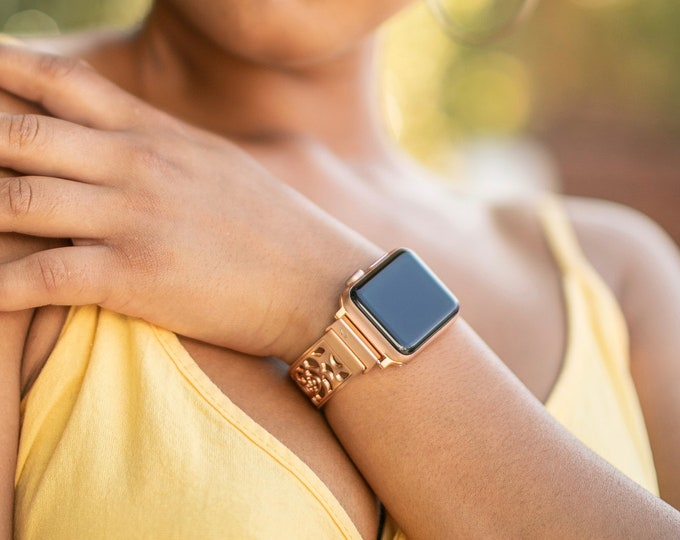 Rose Gold Apple Watch Bracelet 38mm 40mm 42mm 44mm Adjustable Links Band iWatch Band Dressy Rose Gold Apple Watch Bangle Women iWatch Band