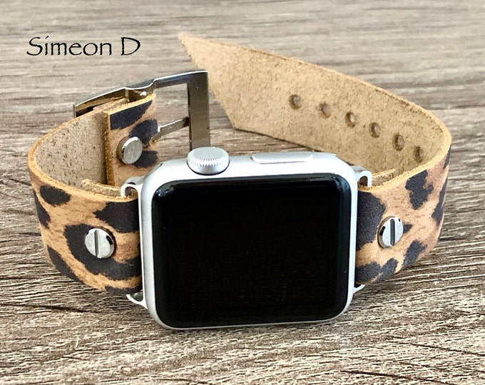 Leopard Print Leather Apple Watch Band 38mm 40mm 42mm 44mm iWatch Bracelet Adjustable Size Wristband Silver Apple Watch Strap