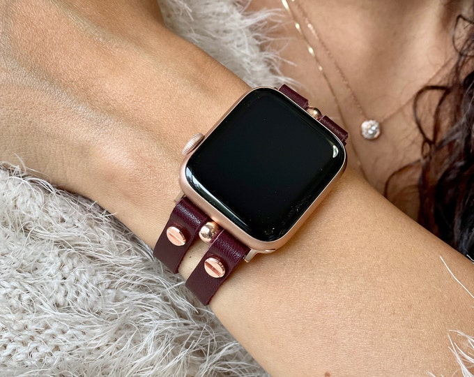 Merlot Color Apple Watch Band 38mm 40mm 42mm 44mm Italian Leather Apple Watch Strap iWatch Bracelet Rose Gold Apple Watch Wristband