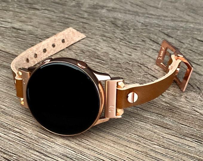 Samsung Galaxy Watch 42mm Leather Bracelet Galaxy Watch Active 40mm Band Rose Gold Galaxy Watch Band 20mm Leather Wristband Strap Jewelry