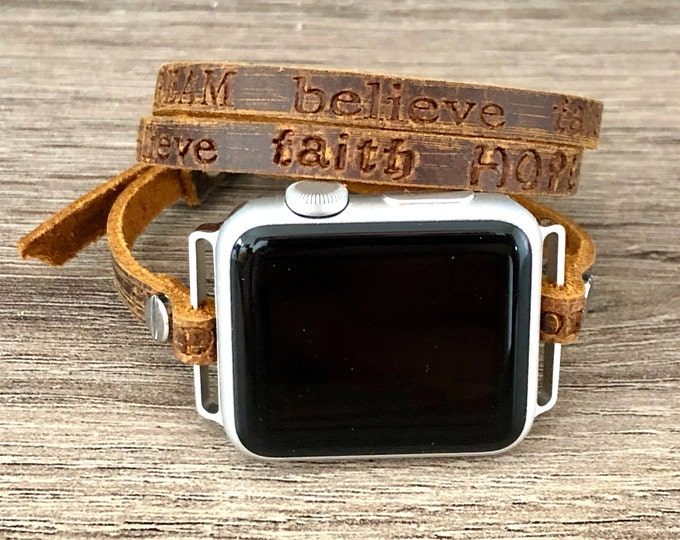 Rustic Brown Apple Watch 38mm 40mm 42mm 44mm Band Leather Inspirational Quotes Apple Watch Bracelet iWatch Leather Strap Band Women Style