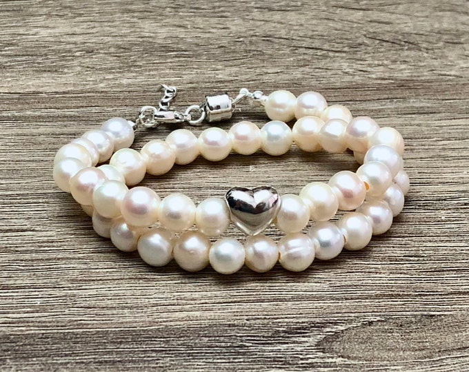 Gorgeous Bridal Fresh Water Pearls Bracelet with 925 Sterling Silver Heart & Adjustable Magnetic Clasp Double Wrap Luxury Bridal Jewelry