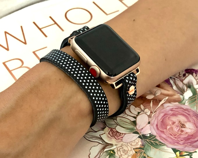 Apple Watch Band, Polka Apple Watch Bracelet, 38mm 40mm 42mm 44mm, Rose Gold Apple Watch Wristband, Vintage Leather Strap, Rustic Strapband