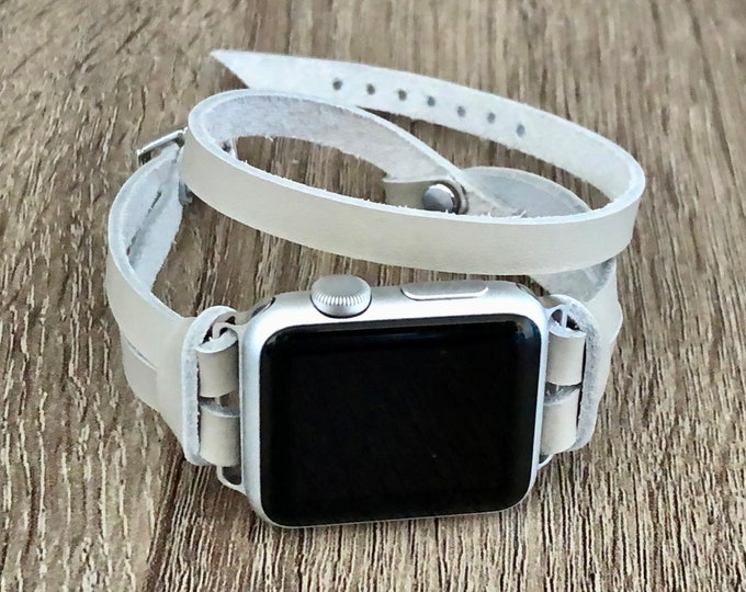 Gray Leather Apple Watch Band 38mm 40mm 42mm 44mm Silver Apple Watch Strap Band iWatch Bracelet Double Wrapped iWatch Band Bracelet