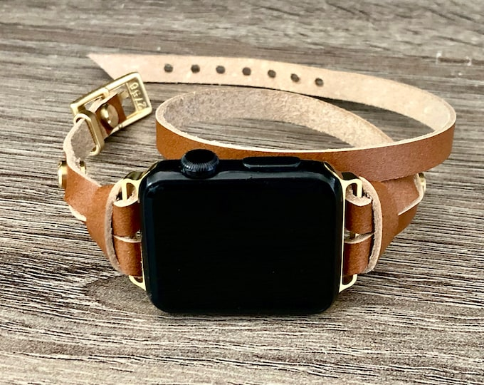 Apple Watch Band 38mm 40mm 42mm 44mm Gold & Brown Leather Bracelet Apple Watch Strap Dainty Slim iWatch Band Women Apple Watch Wristband