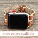 Rose Gold Apple Watch Band 38mm 40mm 42mm 44mm Apple Watch Leather Strap Women iWatch Band Jewelry Bracelet Apple Watch Cuff Wristband